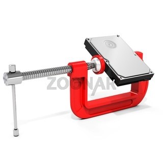 3d hard disk drive in vise