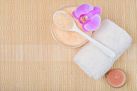 Kit body care, accessories for Spa on a bamboo mat