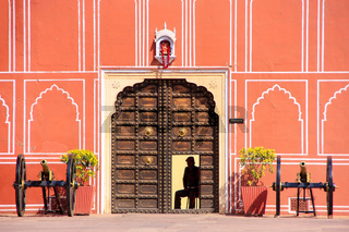 Gate with cannons at Chandra Mahal in Jaipur City Palace, Rajasthan, India