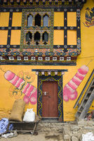 traditional mural painting of a phallic symbol, Teoprongchu, Bhutan