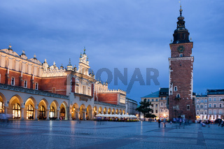 Main Market Square at Night in Krakow