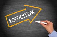 tomorrow arrow with text