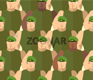Soldiers in Green Berets. Special forces. Army seamless background of people. Marines in green t-shirts. Military vector background