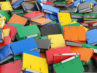 File binders or folders with documents. Paperwork office colourful background.