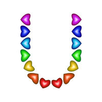 Letter U made of multicolored hearts on white background