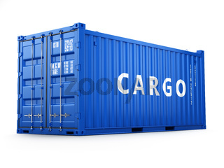Cargo shipping container isolated on white. Delivery.