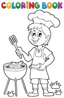 Coloring book barbeque theme 1 - picture illustration.