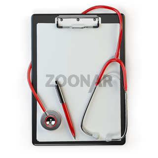Clipboard withstethoscope and pen isolated on white. Diagnosis or blood test. Medical concept.