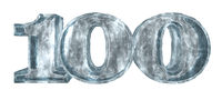 die zahl einhundert aus eis auf weißem hintergrund - 3d illustration