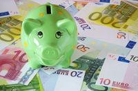 Grünes Sparschwein und Euro Geldscheine zum Thema Finanzen