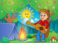 Boy guitar player in campsite theme 1 - picture illustration.