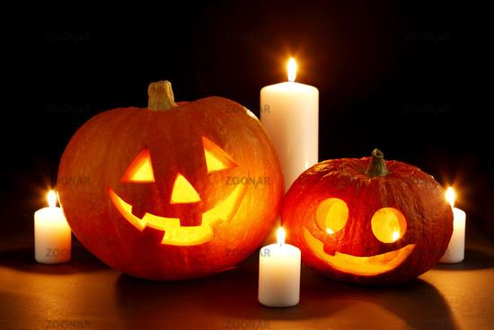 Halloween pumpkin with candles