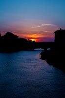 Sundown behind ponte vecchio in florence tuscany