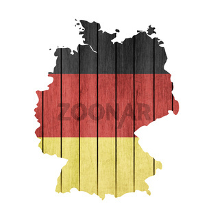 Map With Wooden Flag Of Germany