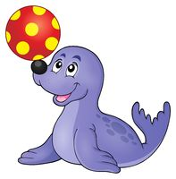 Seal playing with ball theme 1 - picture illustration.