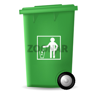 Green PlasticTrashcan
