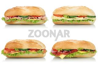 Collage belegte Sandwiches Baguettes mit Salami, Schinken und Käse seitlich Freisteller