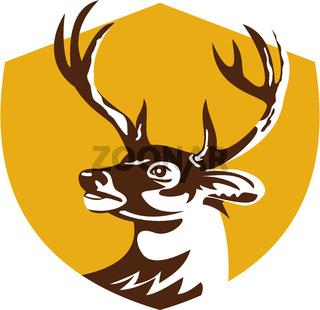 Whitetail Deer Buck Head Crest Retro