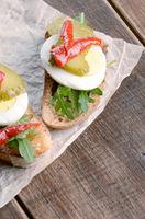 Open egg sandwiches