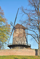 Windmill in historic Customs Station of Zons at Rhine River near Duesseldorf,Germany