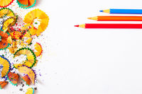 colored pencil shavings