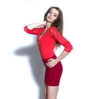 beauty brunette in red