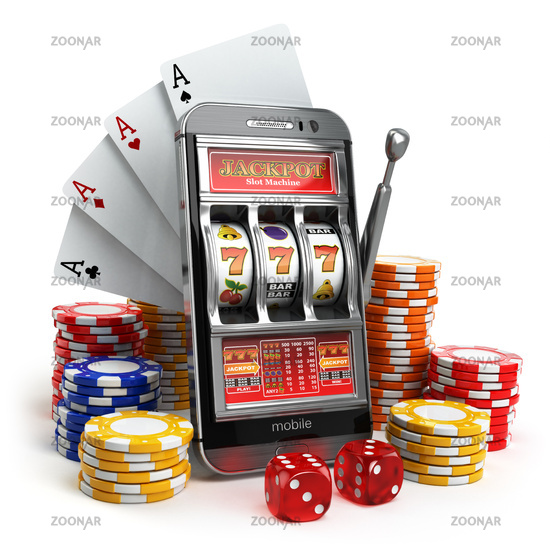 Online casino concept. Mobile phone, slot machine, dice and cards.