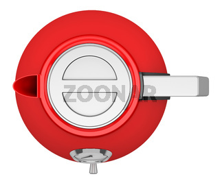 top view of red electric kettle isolated on white background