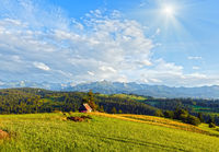 Summer mountain evening country landscape