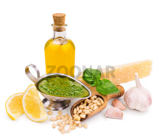 pesto sauce and its ingredients isolated on white