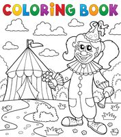 Coloring book clown near circus theme 7 - picture illustration.
