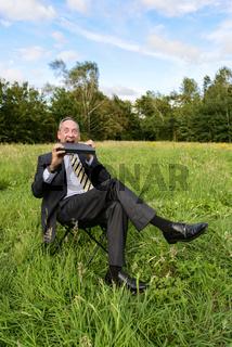 Geschäftsmann auf Wiese - green IT