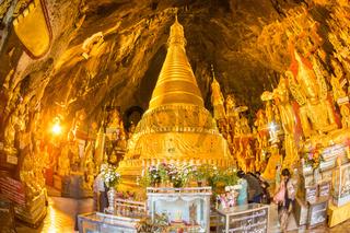 Golden Buddha statues in Pindaya Cave, Burma, Myanmar.