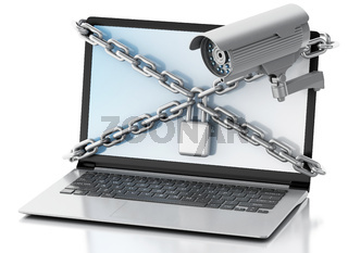 3d Laptop with surveillance camera, lock and chain. Privacy concept.