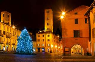 Christmas tree on city square in Alba, Italy.