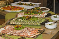 Cold buffet with various delicacies