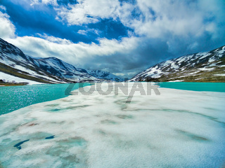 Thin ice on water