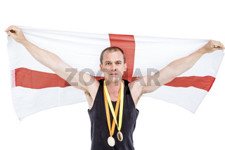 Athlete with olympic gold medal around his neck
