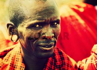 Maasai man portrait in Tanzania, Africa