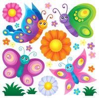 Happy butterflies theme set 2 - picture illustration.