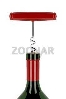 Corkscrew and wine bottle