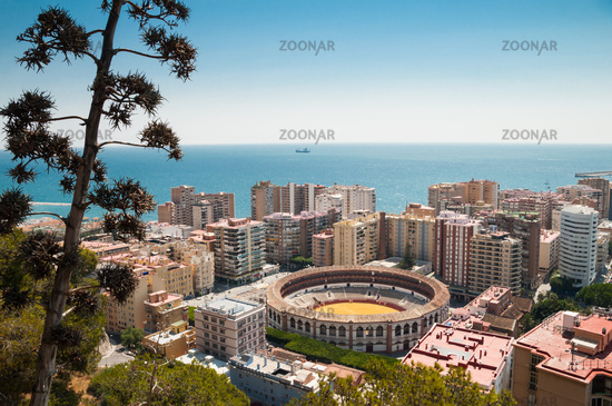 Aerial view of Malaga with Stadium