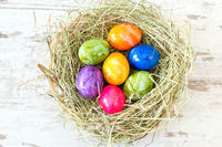Multicolored Easter eggs in a nest