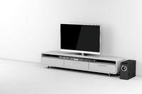Tv and soundbar with subwoofer