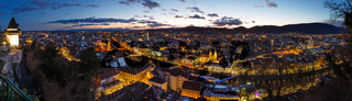 Graz city night top panorama (Austria).