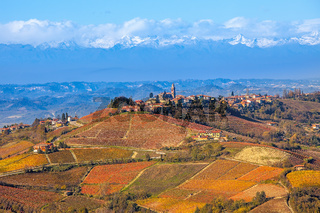 Vineyards and hills in autumn in Italy.