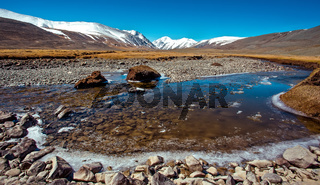 Snowy mountains reflected in lake