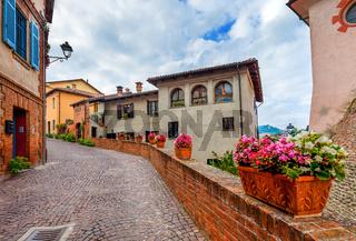 Narrow street in town of Barolo.