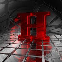 großbuchstabe h in spiegelumgebung - 3d illustration