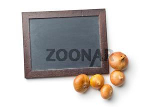 chalkboard and raw onions